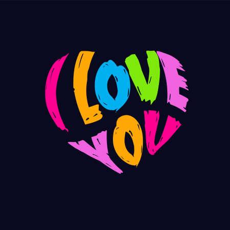 I Love You typography in Heart shape, splatter style. Ilustração