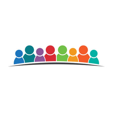 Eight people friends. Group of persons. Vector icon