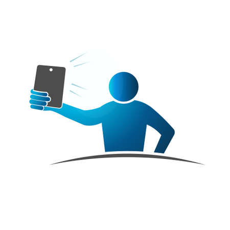 pointed arm: One arm length Selfie. Concept of taking a self portrait with smart phone. Vector design