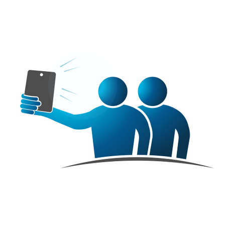 pointed arm: Two people Selfie. Concept of taking a self portrait with smart phone. Vector design Illustration