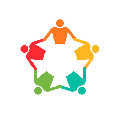 Teamwork People in circle 5. Holding hands. Vector icon