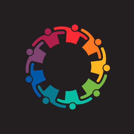 teaming: Teamwork Embrace 9 Group of People.Concept of commitment,teaming up, united. Vector icon