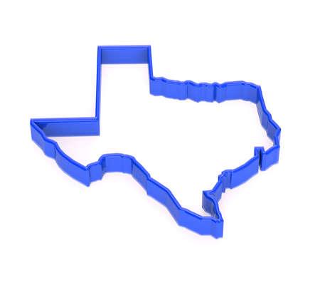 Texas region map. State territory representation. 3D blue photo