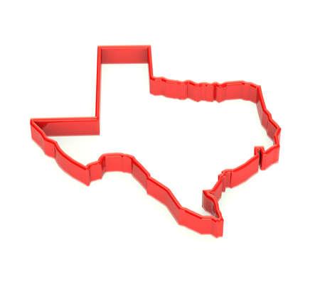 Texas mappa regione. Rappresentazione territorio dello Stato. Rosso 3D Archivio Fotografico - 31849419