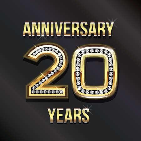 twentieth: 20 years anniversary greeting card. Stock Photo