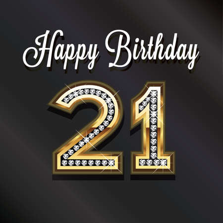 21: 21th Happy birthday anniversary greeting card.