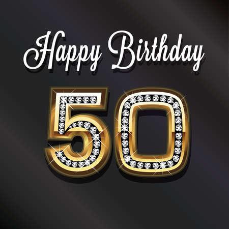 felicitaciones cumpleaÑos: 50ma tarjeta de felicitación de cumpleaños feliz aniversario. Foto de archivo