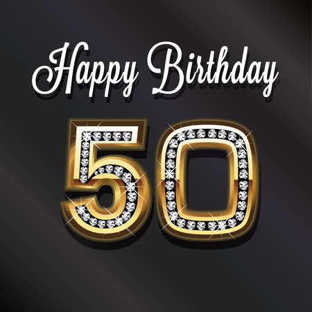 birthday party: 50th Happy birthday anniversary greeting card.