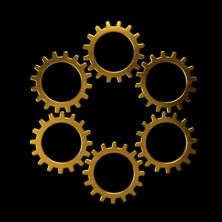 Golden circle of gears photo