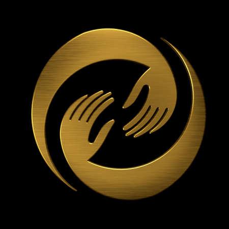 Hands Deal Golden Design Icon. VIP symbol photo