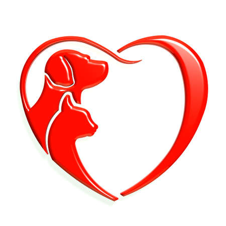 cat grooming: Dog cat red heart love, 3D graphic isolated
