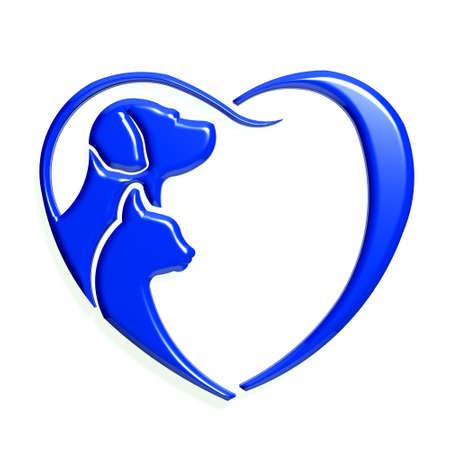 Hond kat blauw hart liefde, 3D grafische geïsoleerde