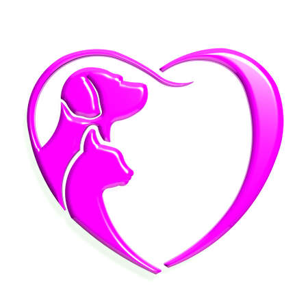 cat grooming: Dog cat pink heart love, 3D graphic isolated