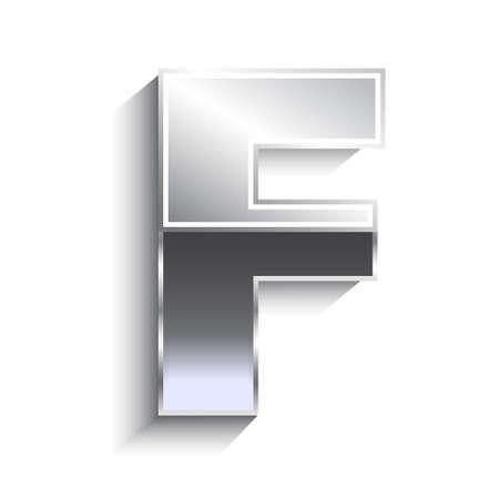 F Metal font. Concept of luxury, VIP, retro 80s.