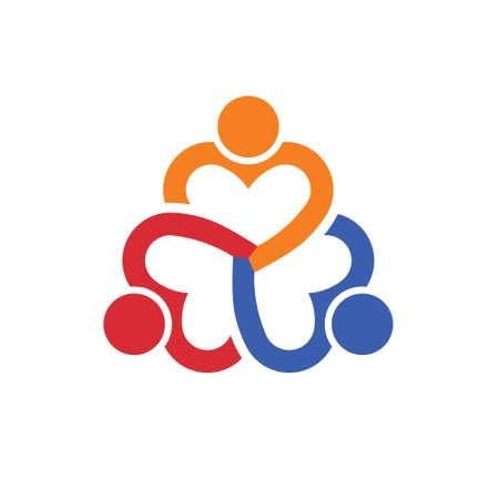 teamwork: Teamwork group three heart people. Illustration
