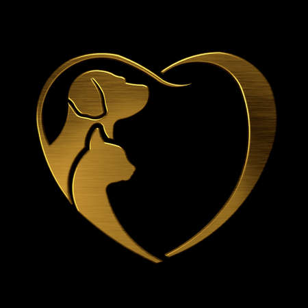 gold heart: Dog and Cat love heart gold Stock Photo