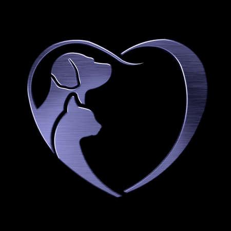 platinum: Dog and Cat love heart platinum