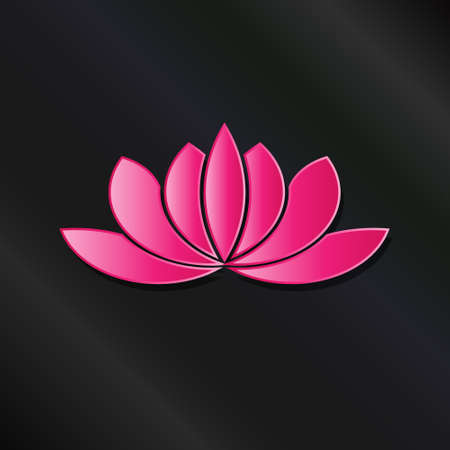Leafy Lotus plant pink asian color. Illustration