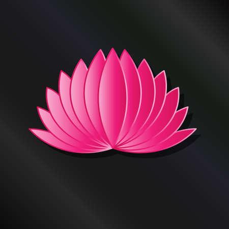 Leafy Lotus plant pink asian color. Çizim