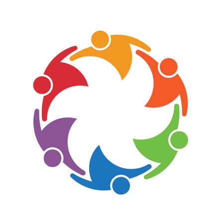 Lavoro della squadra gruppo di persone di 6 in un cerchio. Concetto di unione