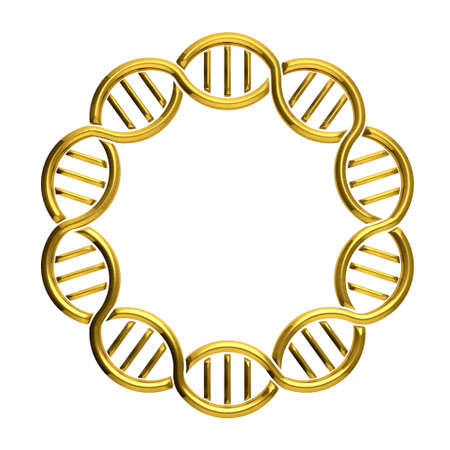 Golden DNA circle isolated on white background photo