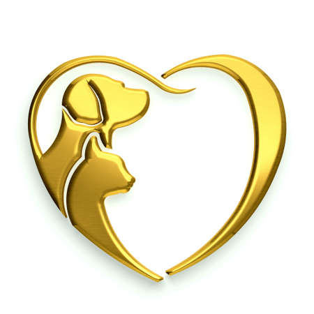 Dog and Cat love heart gold isolated in white background photo
