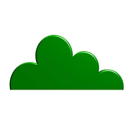 Glossy green cloud isolated in white background Stock Photo