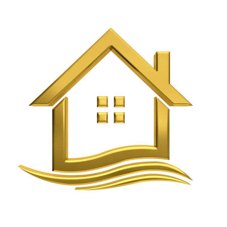real estate house: Golden house wave  real estate image.