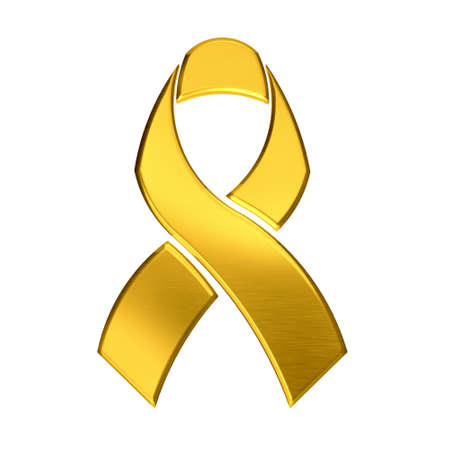 childhood cancer: Golden ribbon Stock Photo
