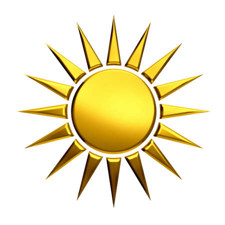 Golden sun isolated in white background Stock Photo