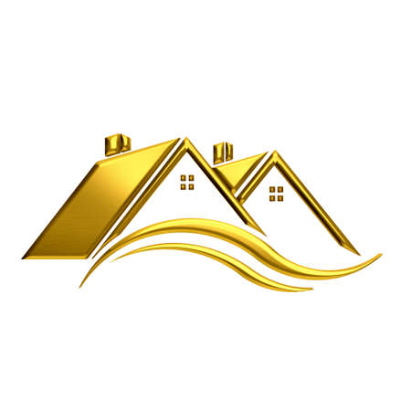 Golden houses real estate image. photo