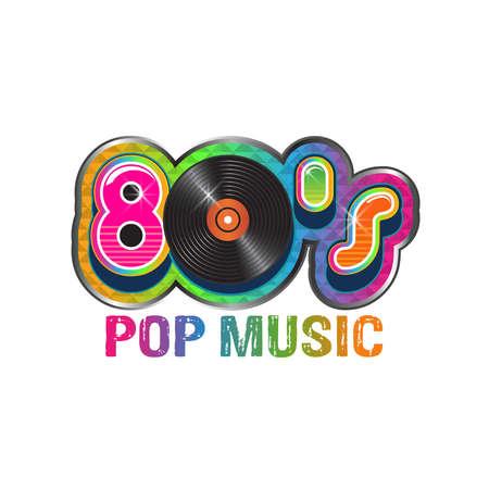 80s pop music vinyl disc. Vector