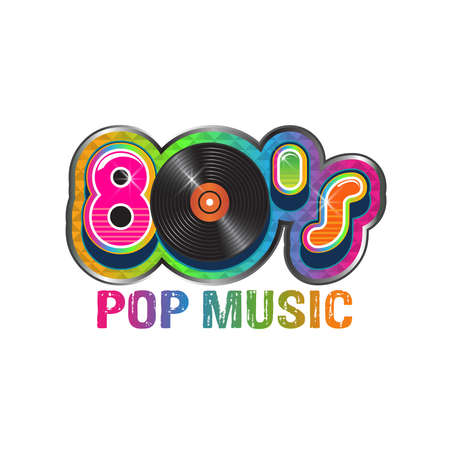 eighties: 80s pop music vinyl disc.