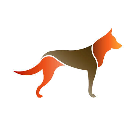 gun silhouette: Color Dog in white background isolated.