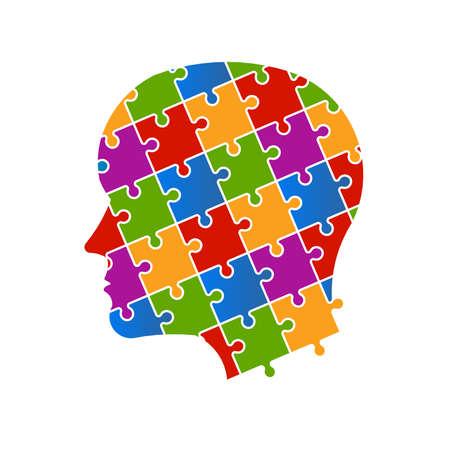 Puzzle people head Illustration