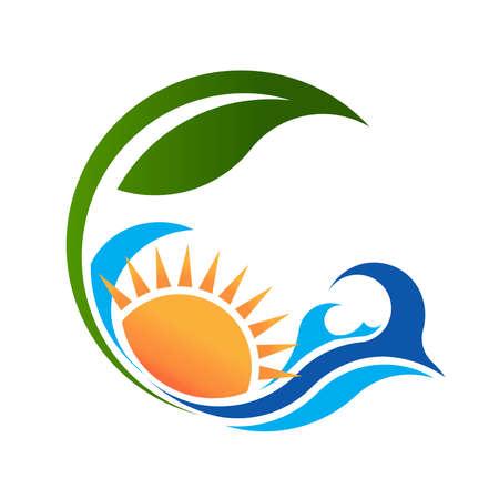 Sunny sea and plant