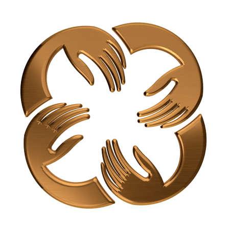 four hands: Bronze Four Hands Circle. Concept of teamwork