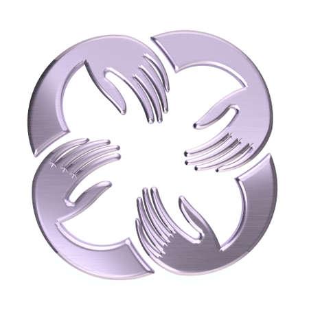 platinum: Platinum Four Hands Circle. Concept of teamwork Stock Photo
