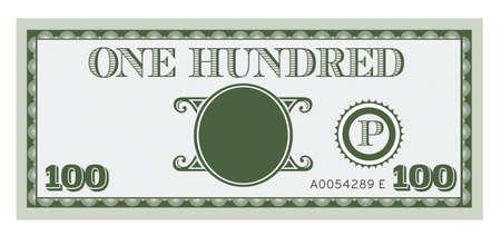 Sto pieniądze rachunek obrazu. Z miejsca, aby dodać tekst, informacje i zdjęcia. Ilustracje wektorowe