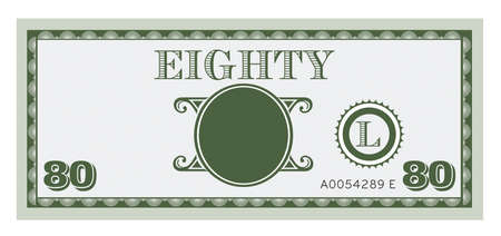 paper currency: Eighty money bill image. With space to add your text, information and image. Illustration