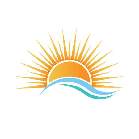 Sole sopra acqua onde. Vettoriali