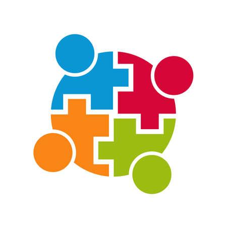 conectar: Conexión con la comunidad el trabajo en equipo. Grupo de 4 personas. Diseño vectorial