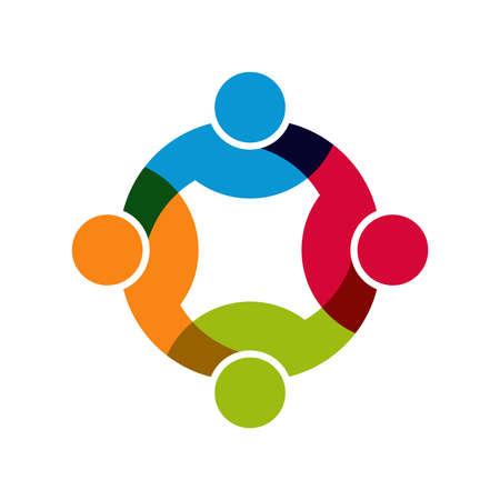 Social Network, Group of 4 people business men. Illustration