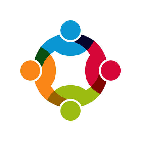 Social Network, Gruppo di 4 uomini d'affari uomini. Vettoriali
