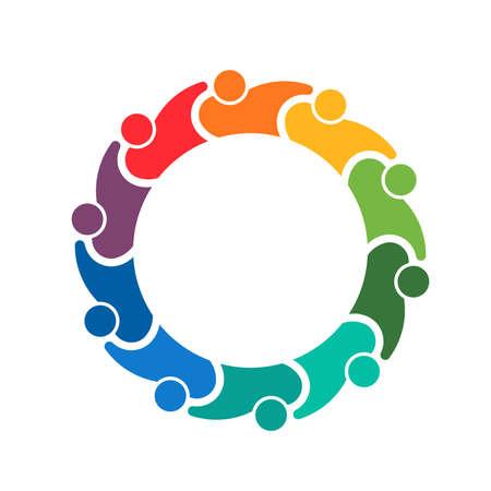 Teamwork holding group of 10 people Illustration