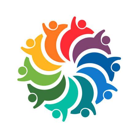 Teamwork spiral group of 10 people. Illustration