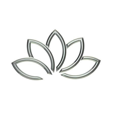 royal logo: Luxury Silver Lotus plant image Stock Photo
