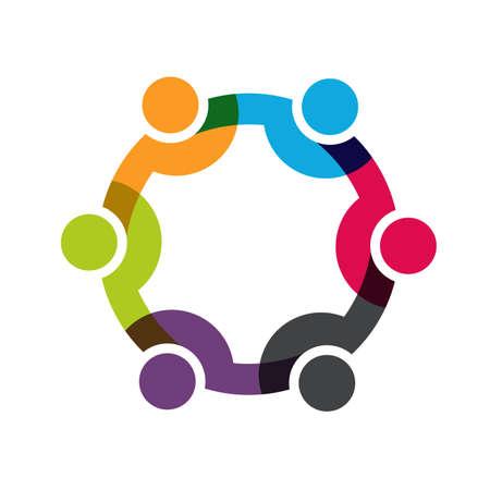 Social Network, Grupa 6 osób biznesmenów. Wektor projektu