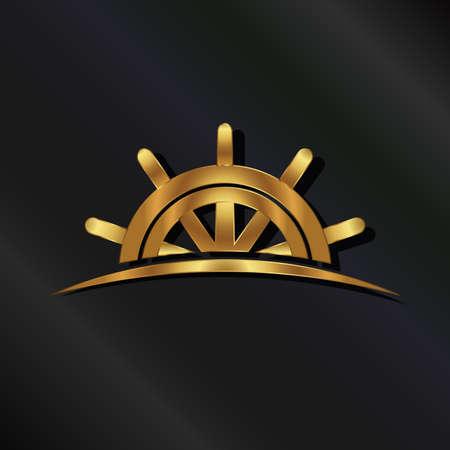 Golden Ship marine de roue Banque d'images - 35963642