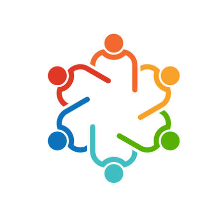community: Teamwork 6 circle interlaced.Concept group of connected people , helping each other.Vector icon